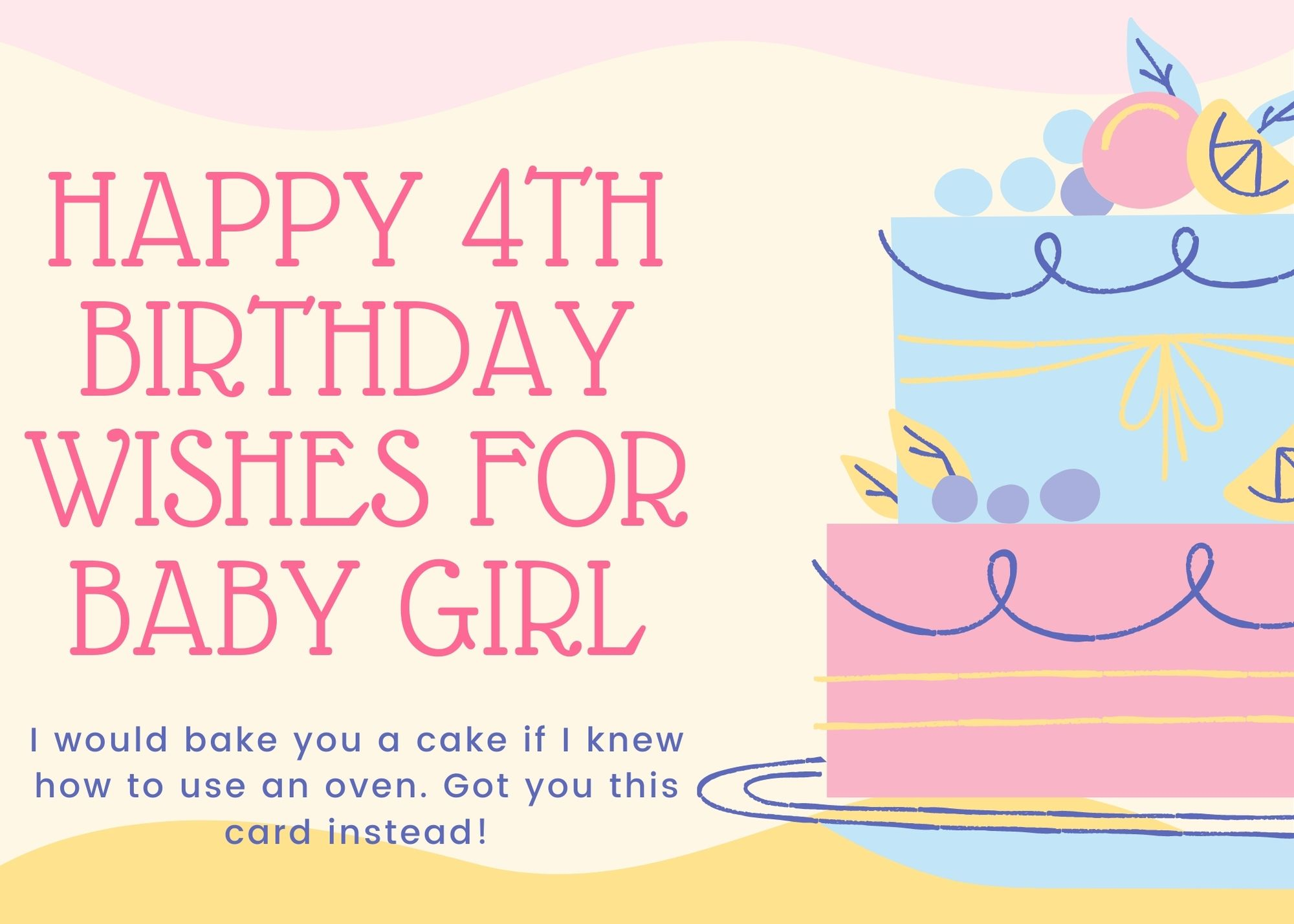 Happy 4th Birthday Wishes For Baby Girl